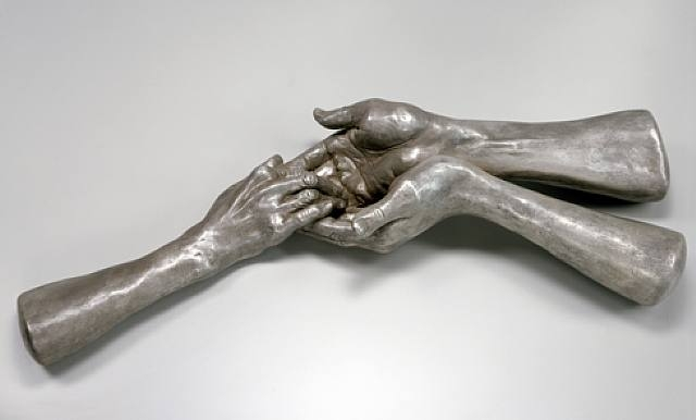 The Welcoming Hands Louise Bourgeois 1996. Bronze coated with silvernitrate patina, polished
